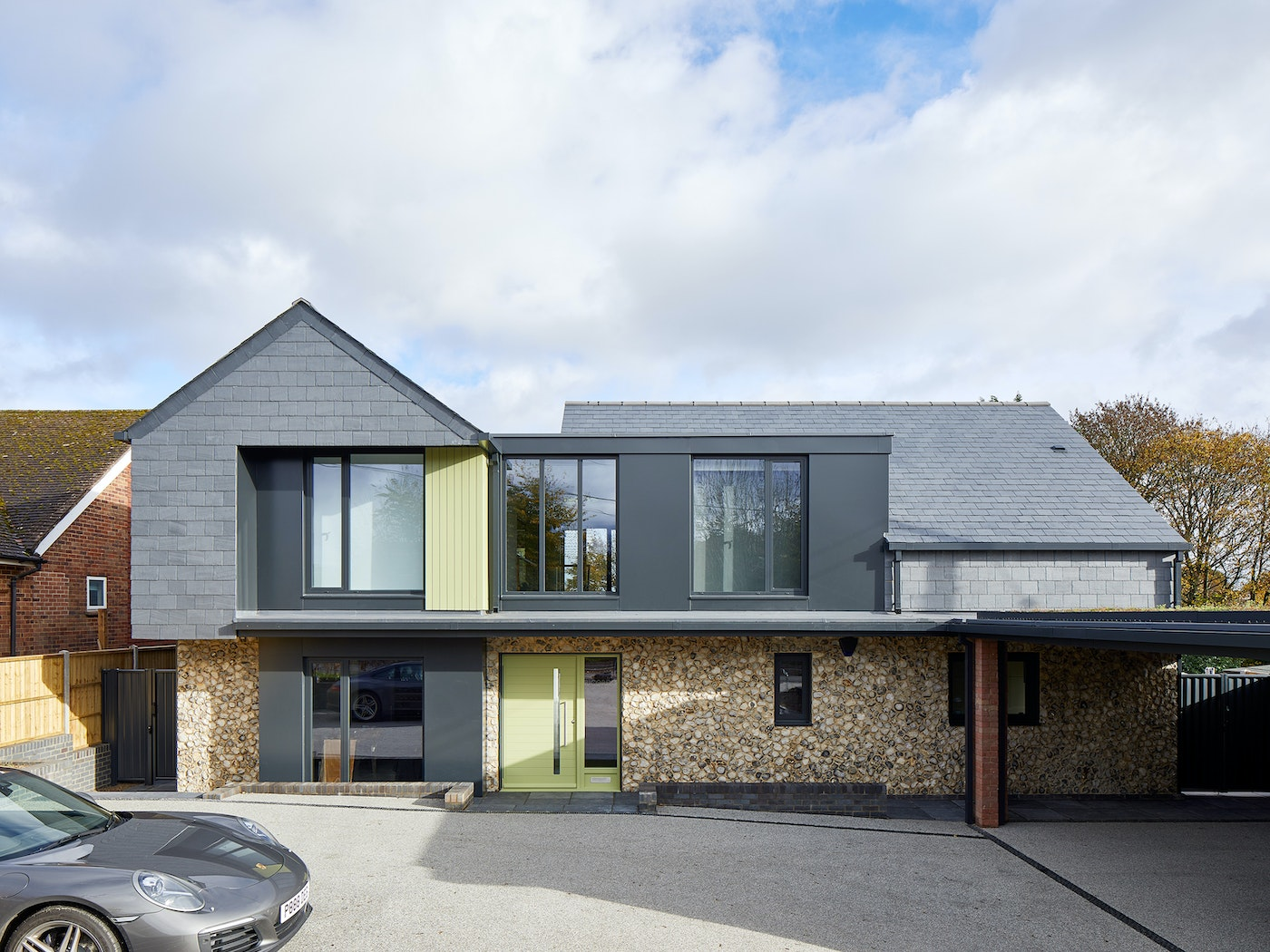 Using Green to accent a mostly grey frontage