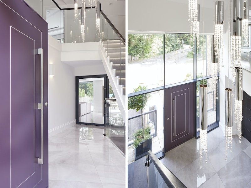 The stunning neutral tones of the interior and glass framing mean that this door stands out without being overpowering