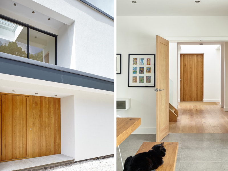 The simple colour scheme of this white rendered house allows for a theme of natural oak hardwood from the front door and throughout the interior