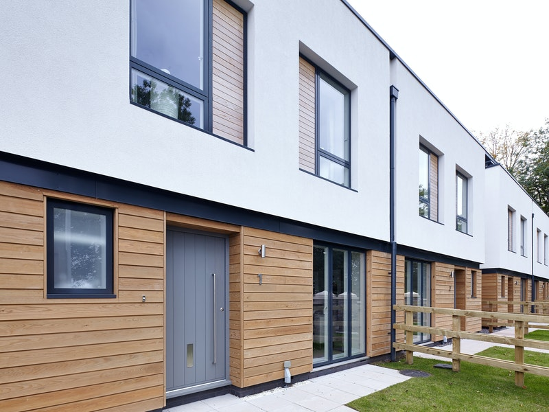 The owners of this house chose a grey front door to go with their mixed material frontage