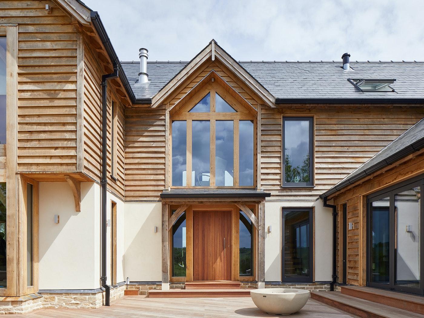 iroko front door and western red cedar cladding