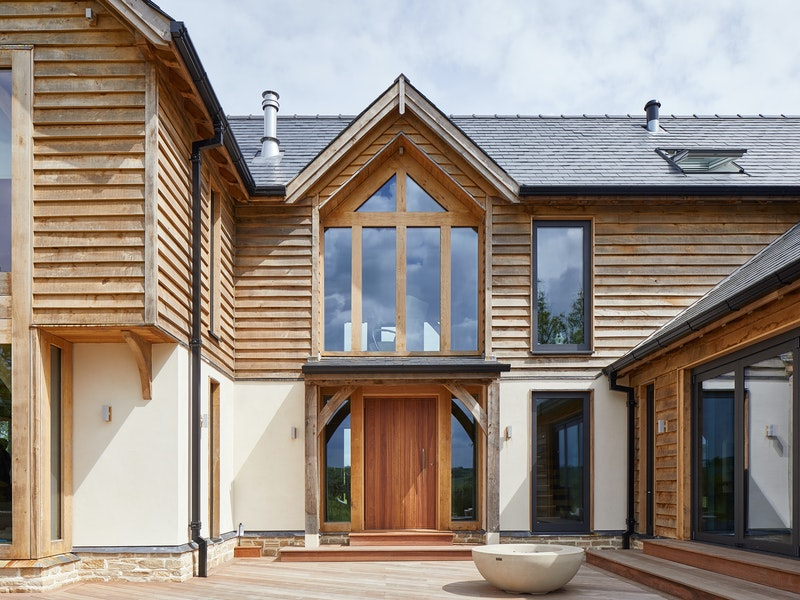 iroko front door and western red cedar cladding