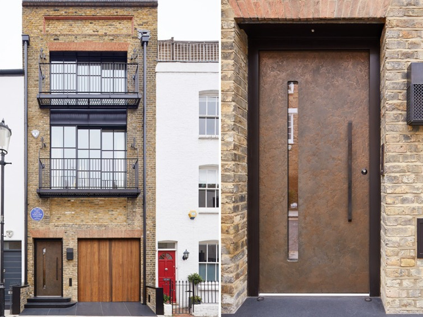 The bronze door with the light brick and grey loft style windows work really well in this London terraced house.