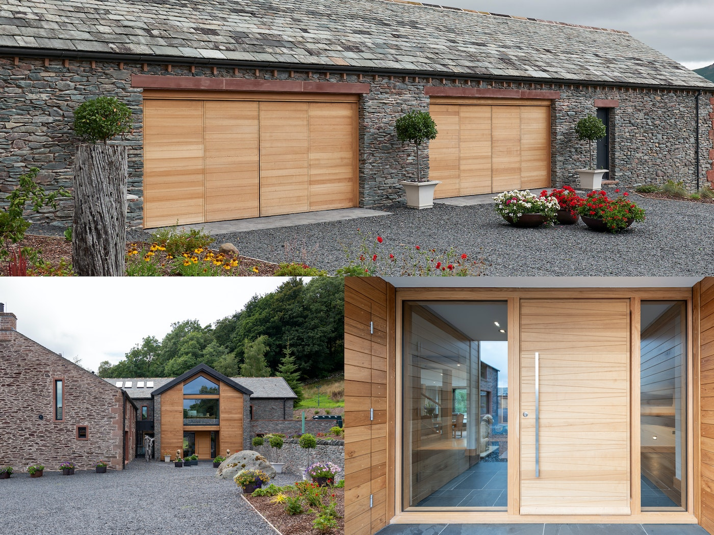 A simple design difference but the same finish help the front & garage doors work well together in this farmhouse renovation