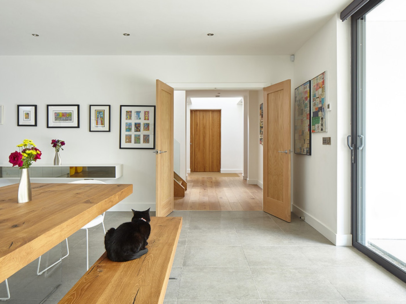 the colours in the kitchen and internal doors match the front door