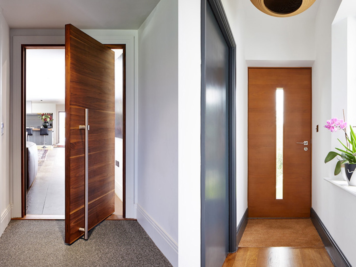 a gorgeous example of an internal pivot and on the right the internal doors match the skirting whilst the front door is a different style and colour