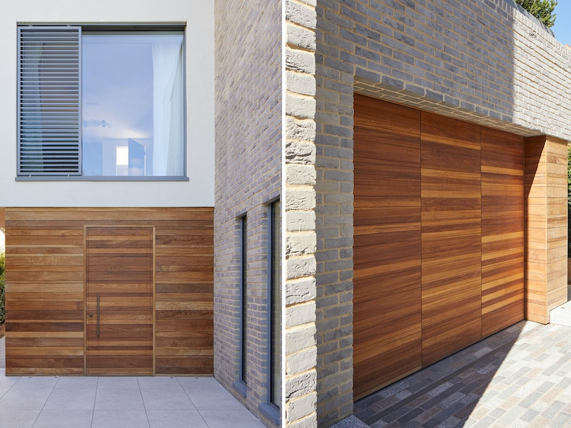Side door Raw e80 hinged in Iroko and automated up-and-over garage