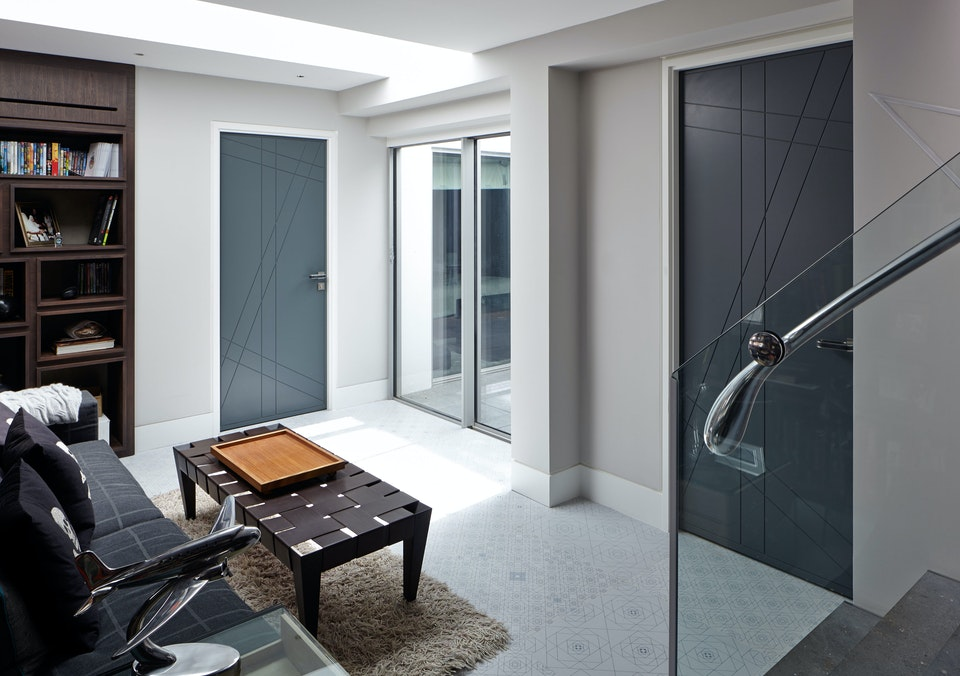 Lounge view of Urban Front's anthracite grey internal doors