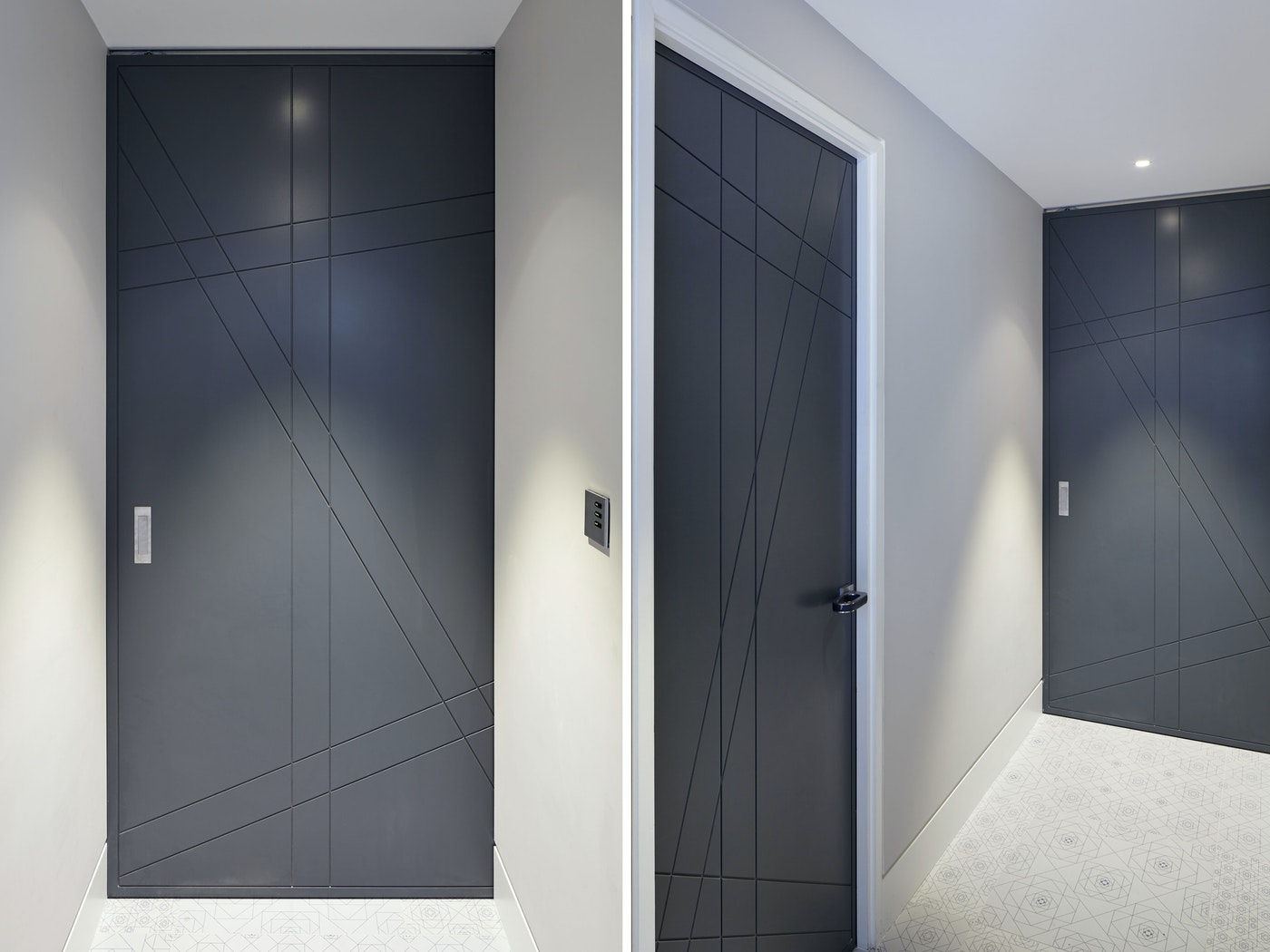 """The geometric design on the """"Root"""" internal doors works perfectly with the dark grey finish"""