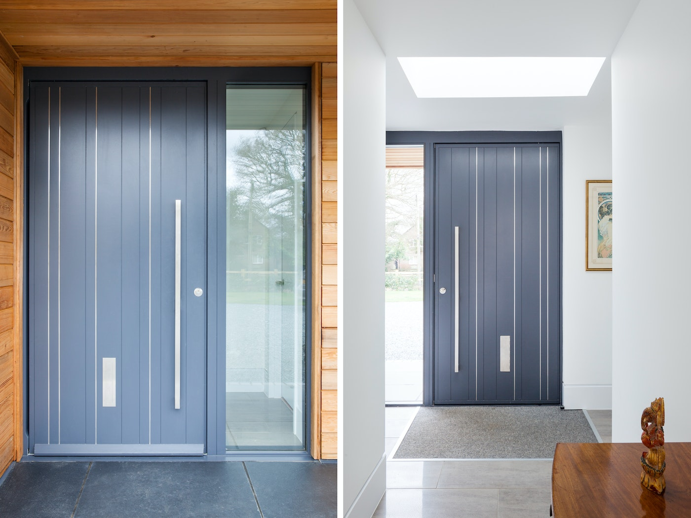 The stainless steel strips in the contemporary grey door add drama