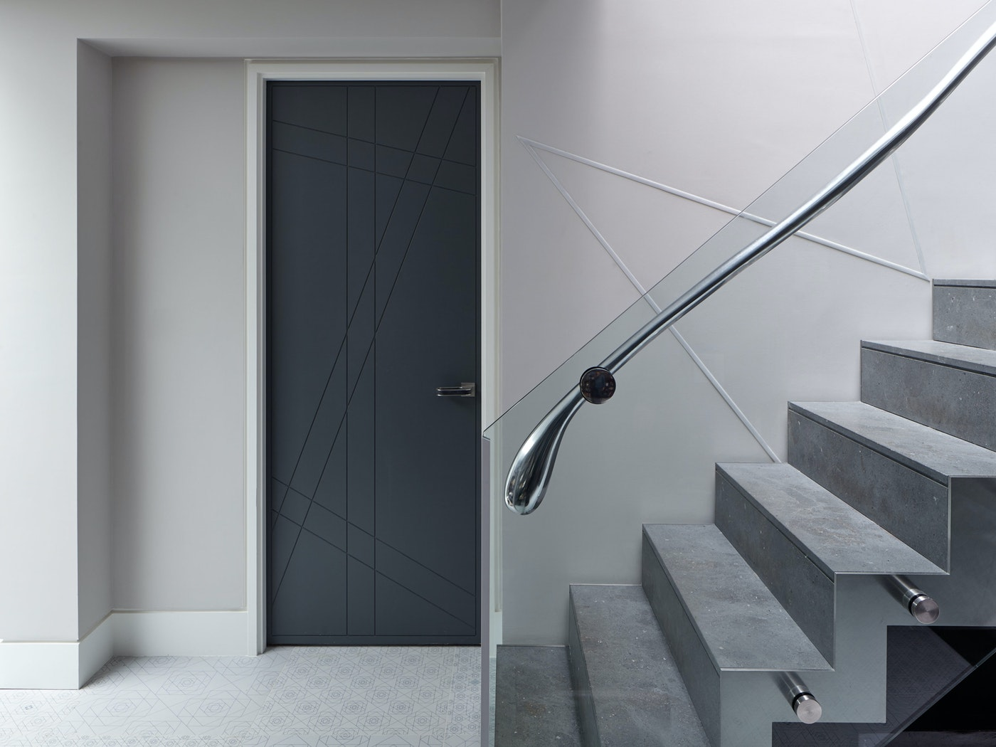 Interior anthracite grey door & staircase