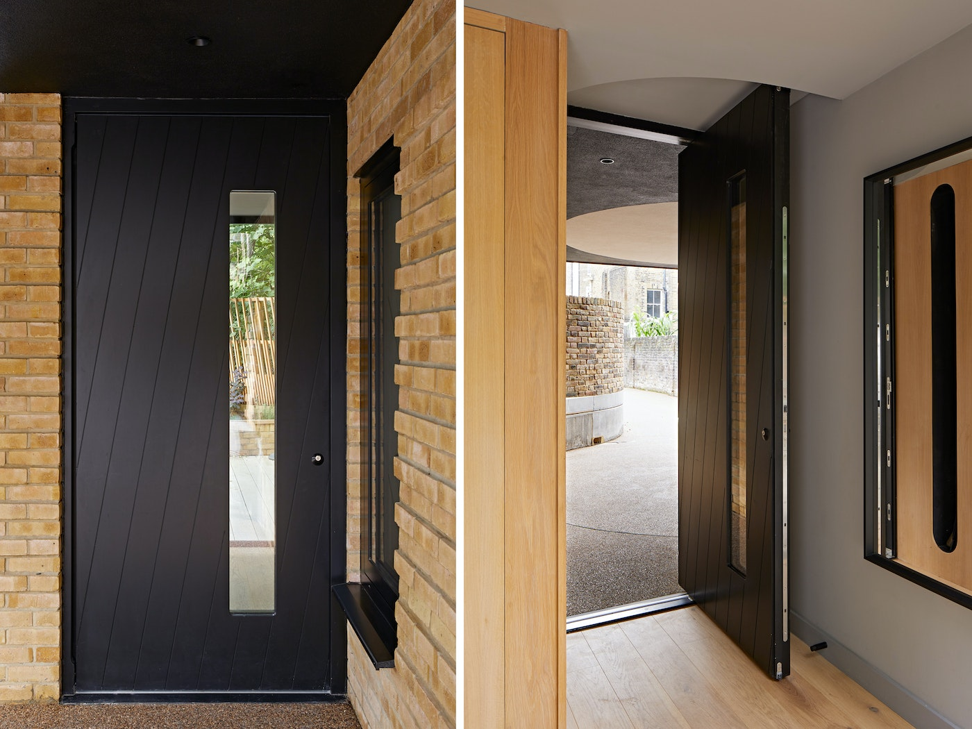 Interesting diagonal grooves offer a twist of design style on this modern black front door
