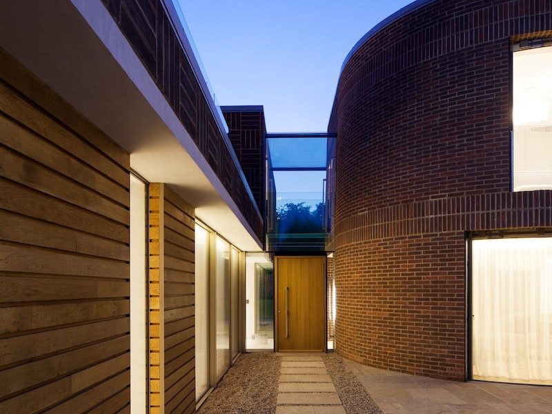 Night time view of this contemporary house