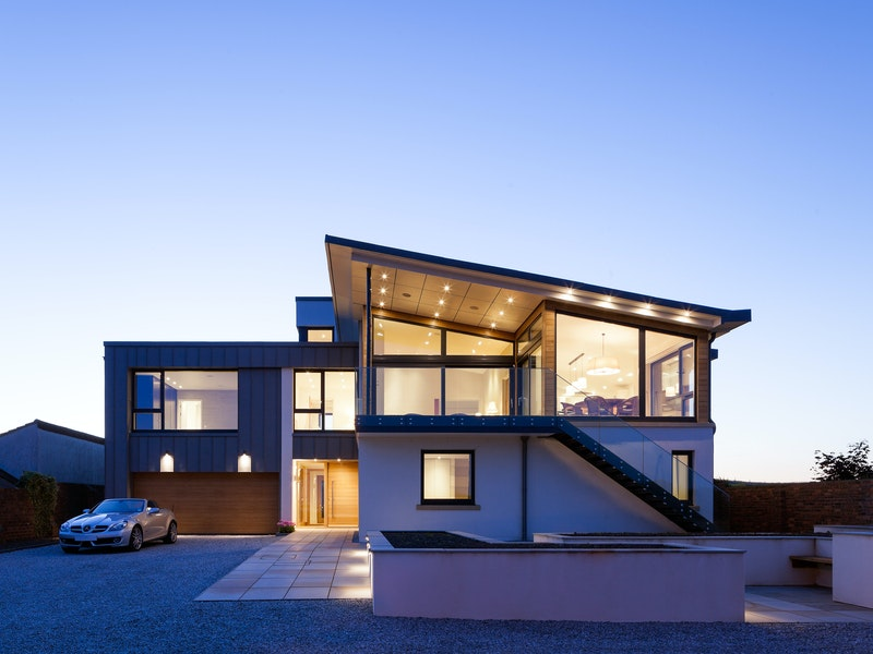 The vast expanses of glass further highlight the contemporary design