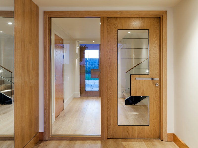 The internal doors are Urban Front's Ice style which also feature glass heavily as part of the design