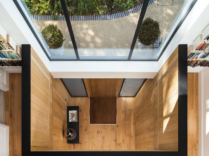 Aerial shot of the internal entrance - with a great view of how the front door features in glass