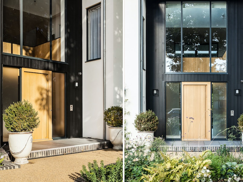 The imposing double height glass entrance