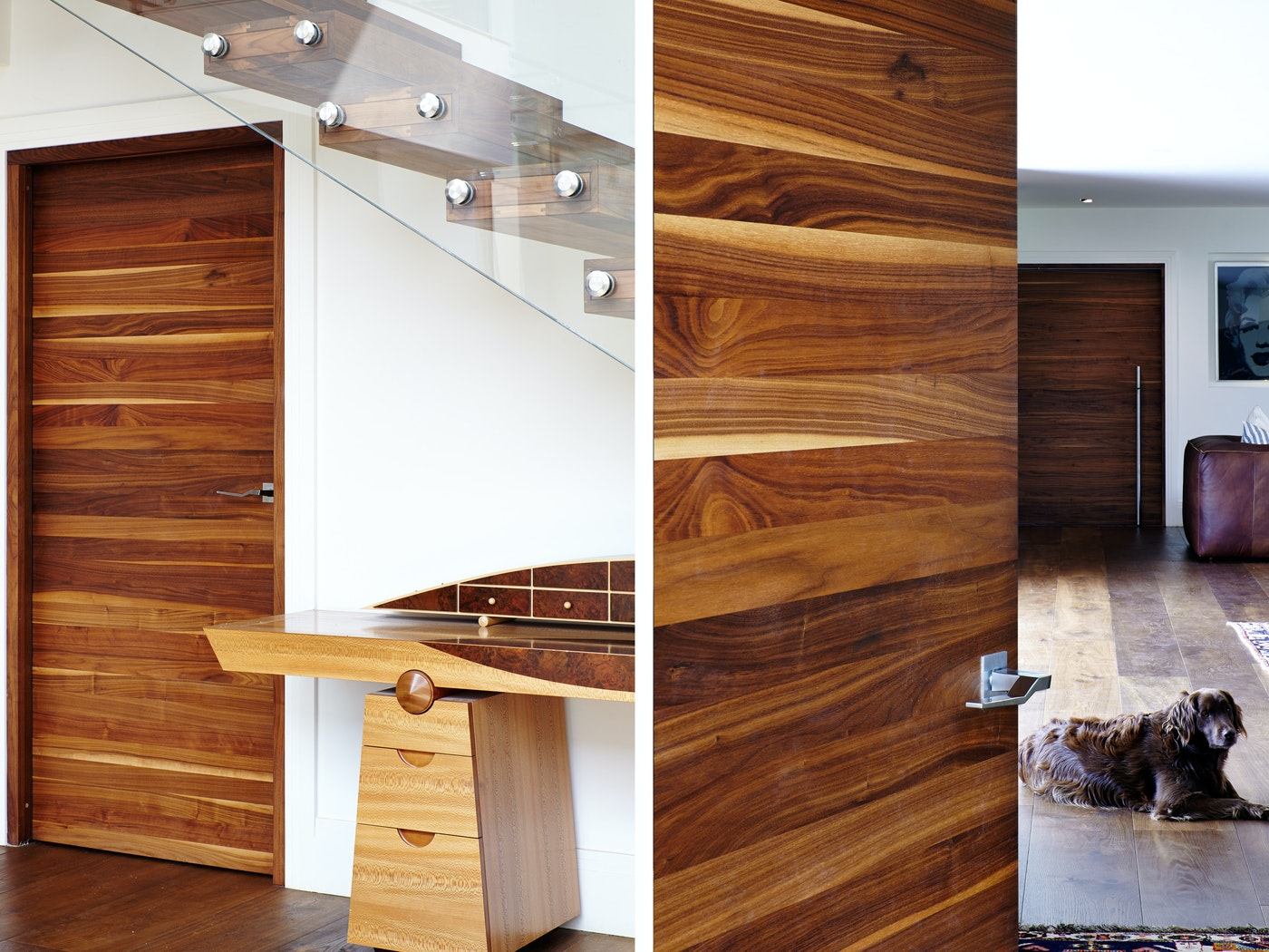 The gorgeous internal doors are in the Raw design in american black walnut