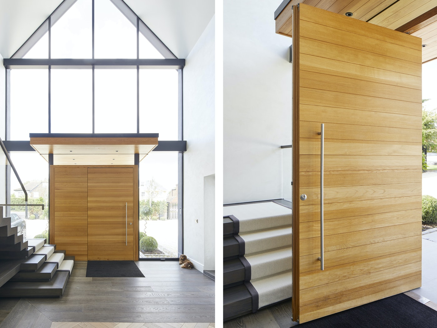 The glass allows the hall to be flooded with light, the door is fitted with an option 8 handle
