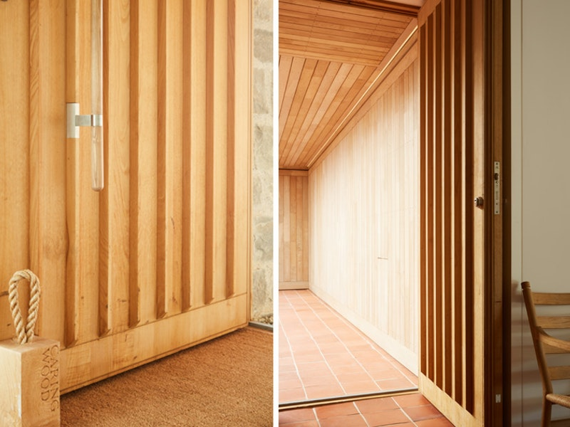 The door fits in very well with the Scandinavian look of the interiors