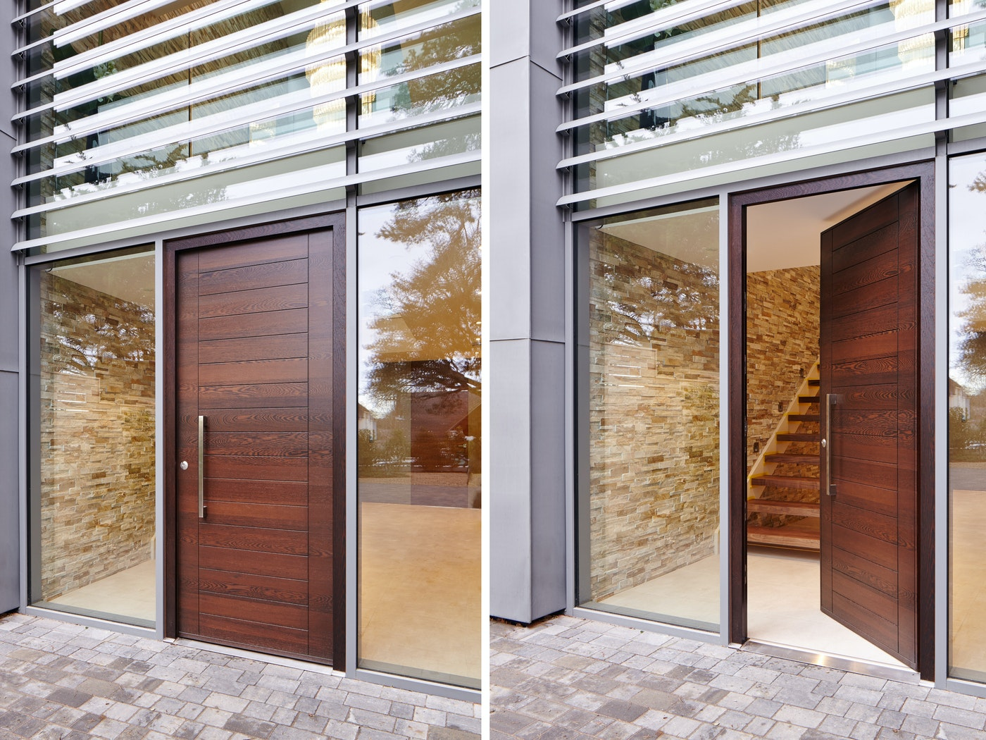 The front door of this minimalist property features Urban Front's Oslo design