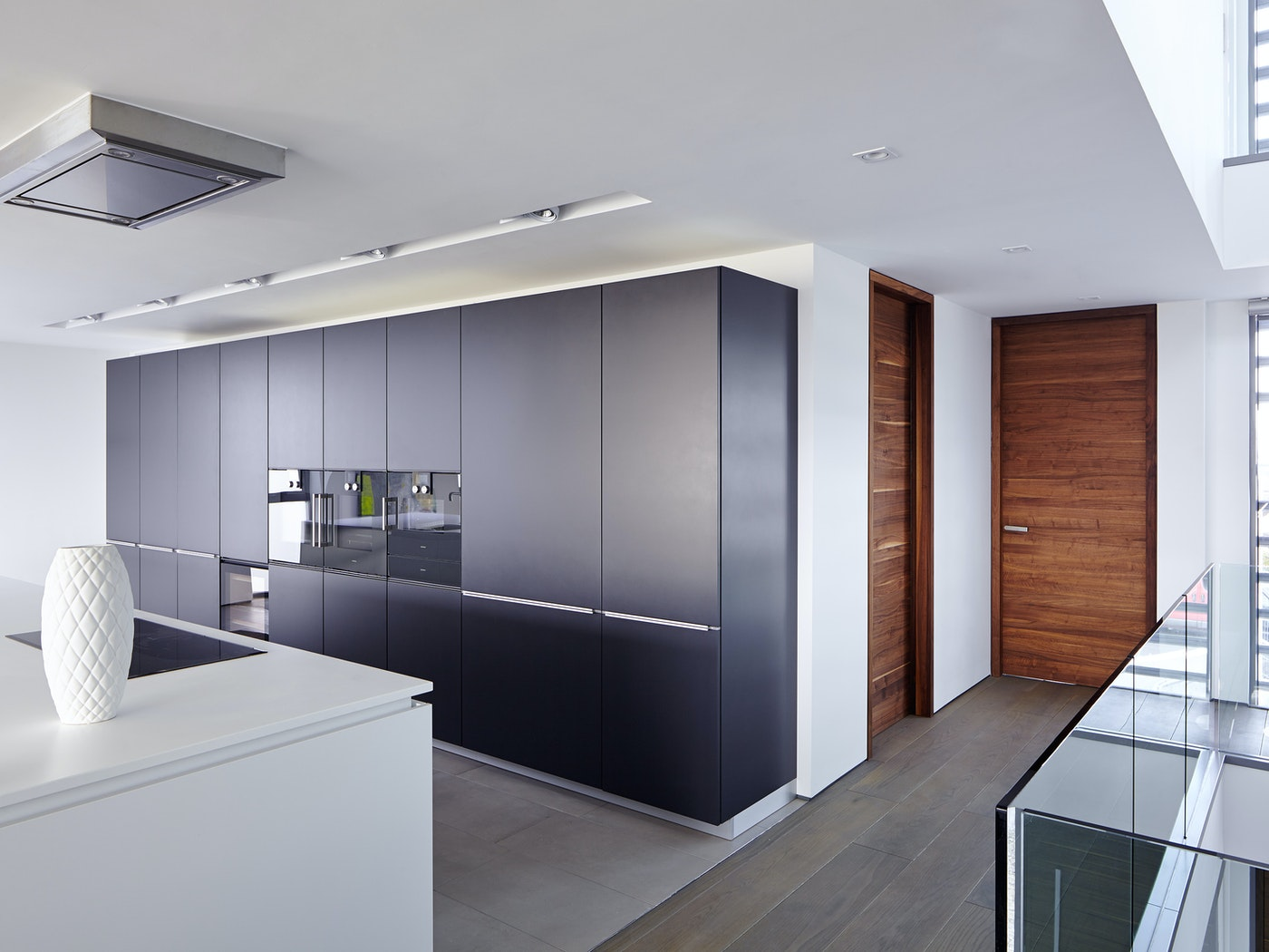 The deeper colour of the american black walnut wood works really well with greys
