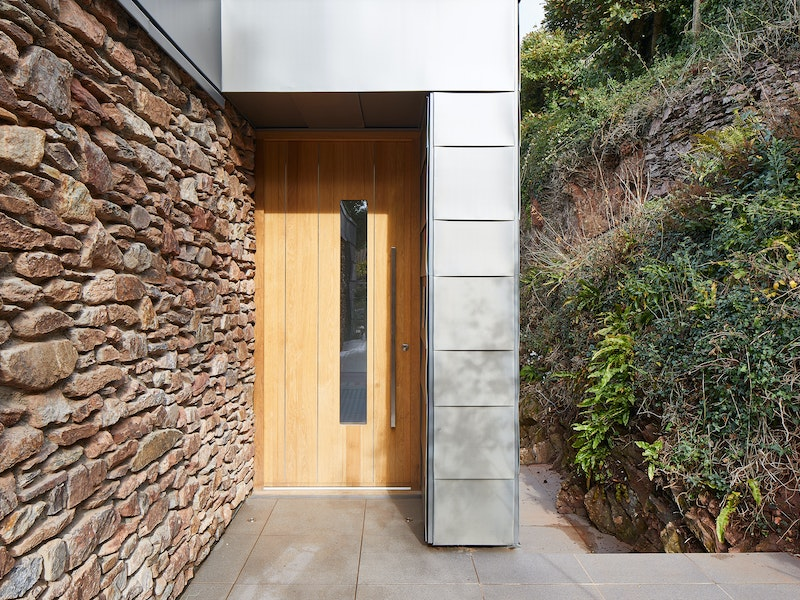 A glass vision panel is a key feature of the Terano front door design