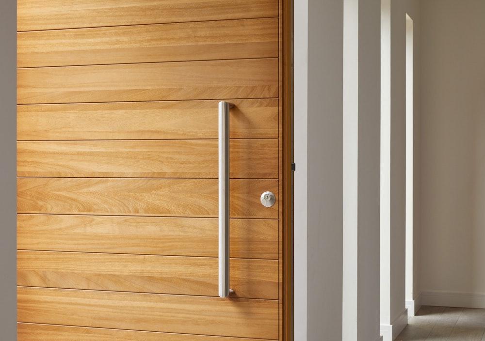The iroko wood door in a detailed close up
