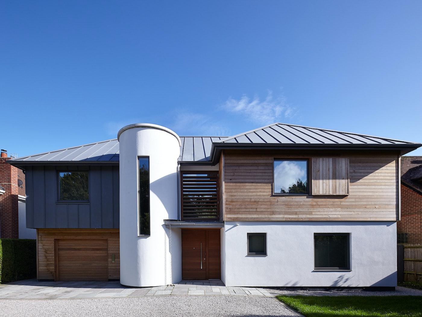 Interesting house design with an iroko wood front door