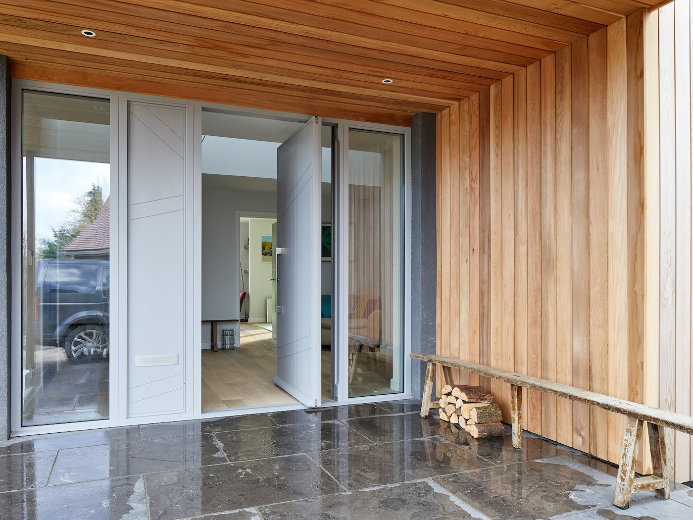 doors with matching glass wood panels 4