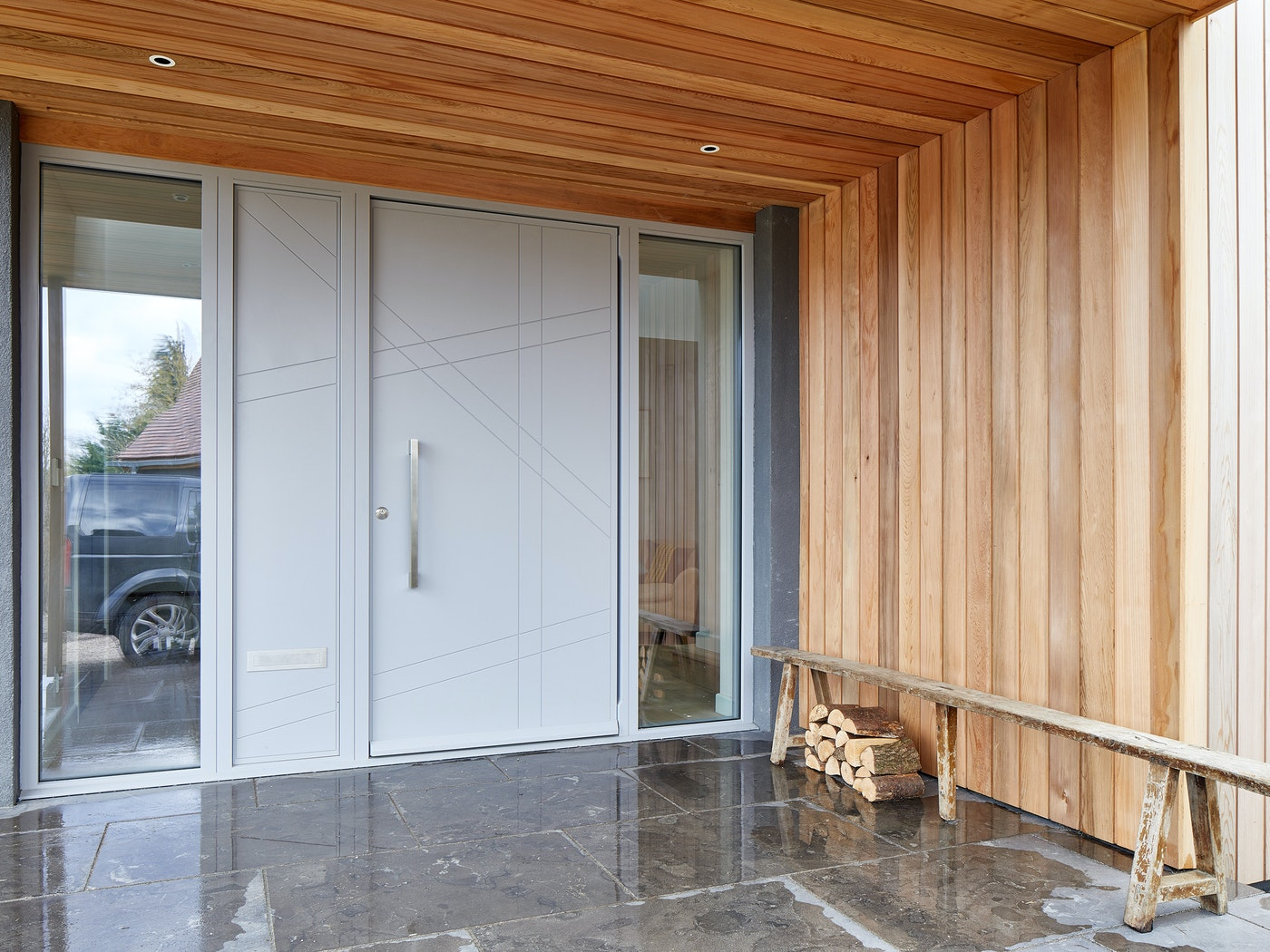 doors with matching glass wood panels 5
