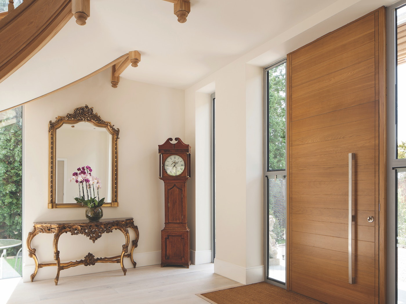 A contemporary door can work with a traditional interior