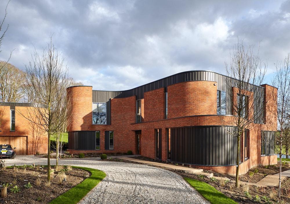 Unique Contemporary Passive House with Iroko front doors