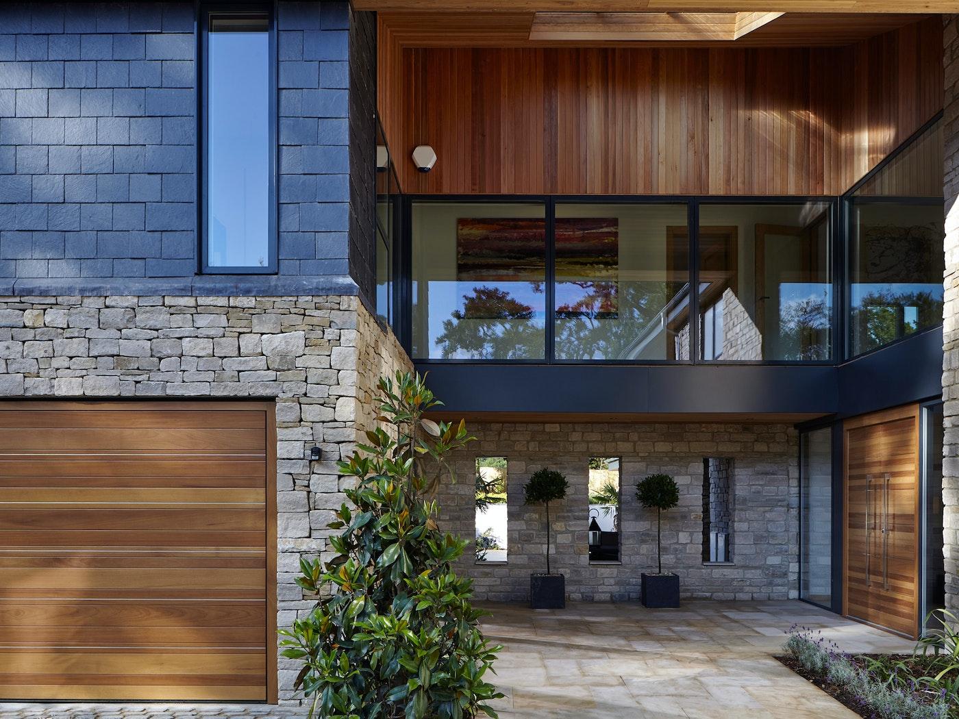 rondo garage and double doors in iroko