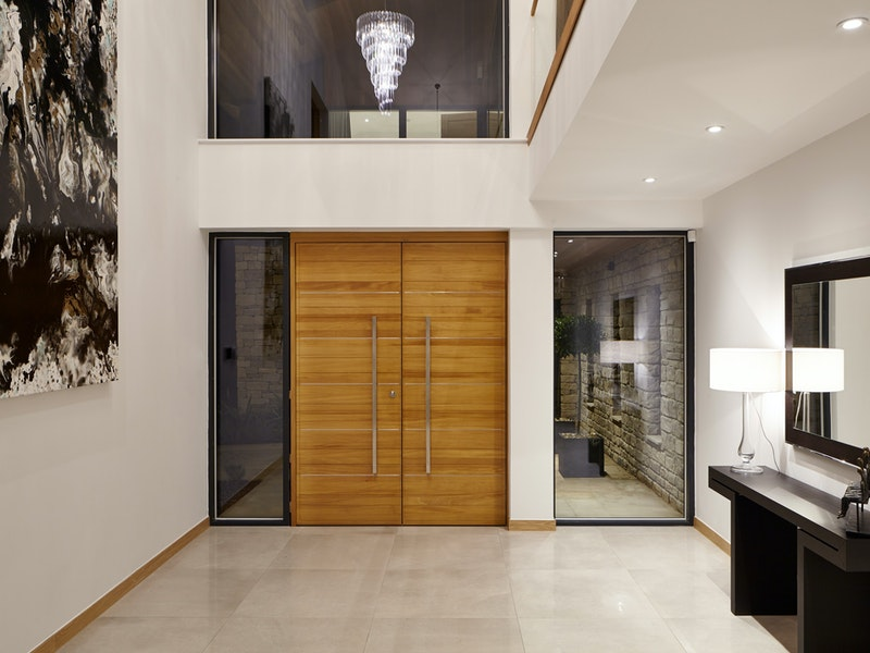 double doors | iroko with stainless steel inserts | option 11 handles