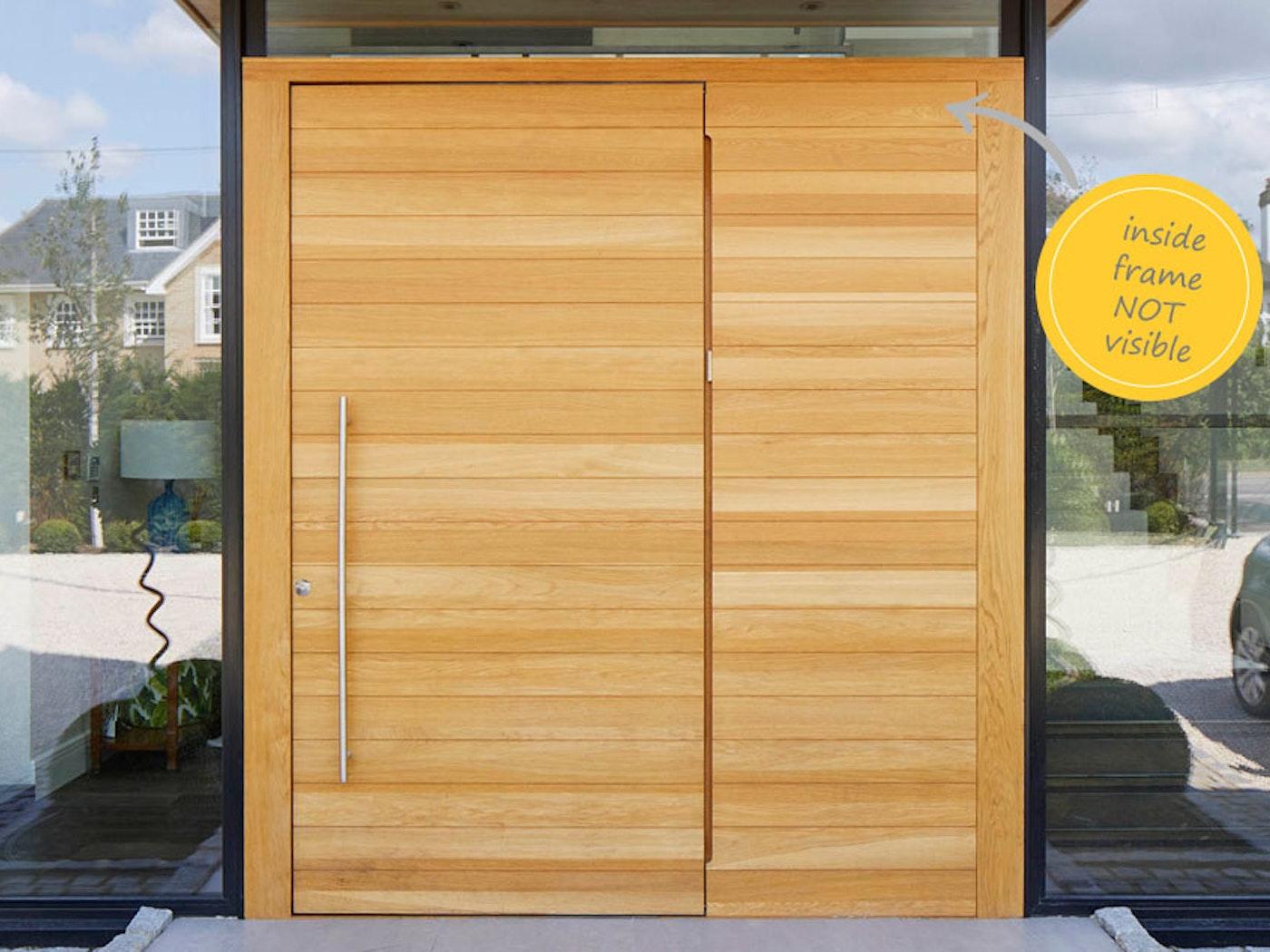 An oak flush door with matching flush side panel