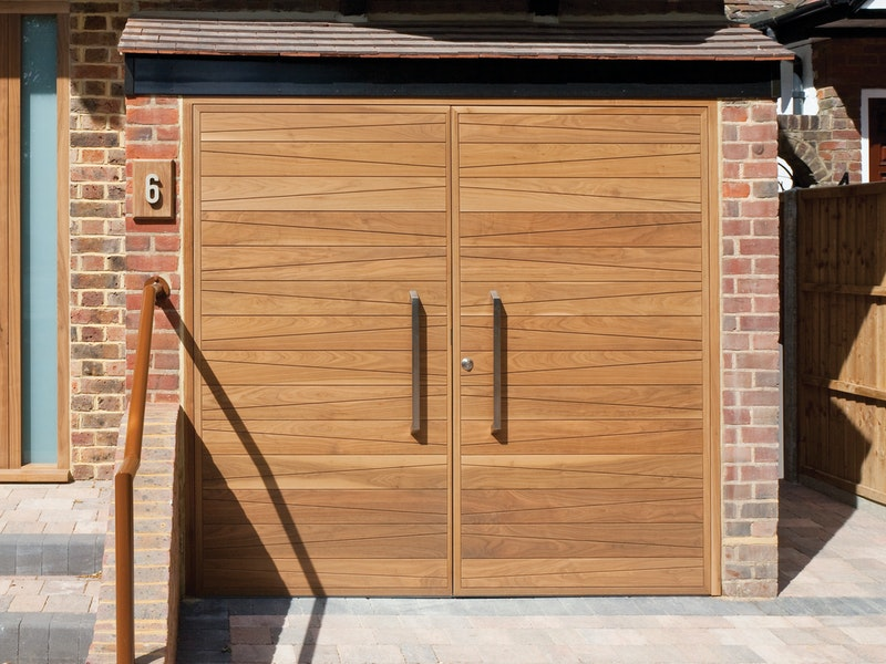 Side hinged garage doors | Milano design | American black walnut