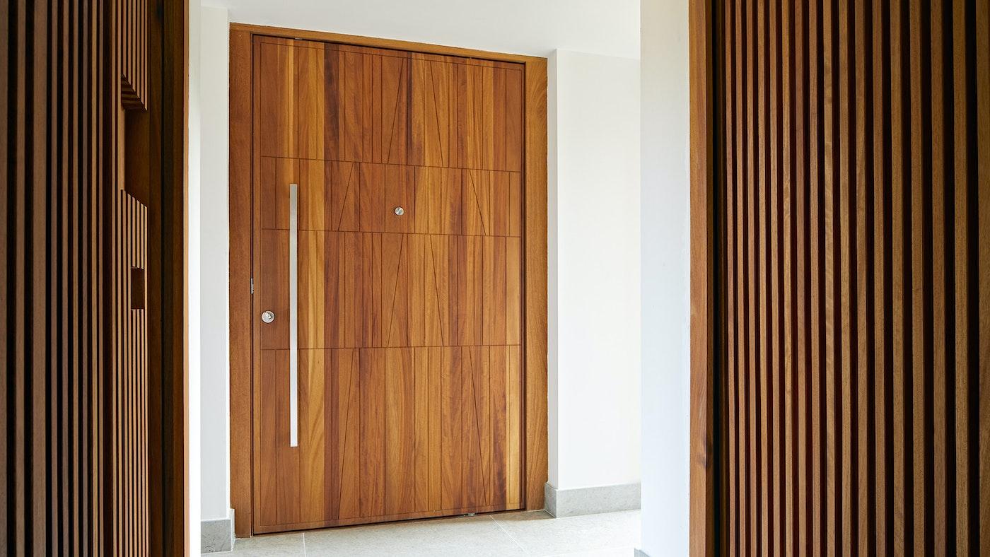 Not your average house door, our Quattro design in iroko
