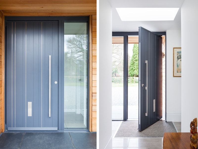 Grey pivot door   Open & closed view   Urban Front