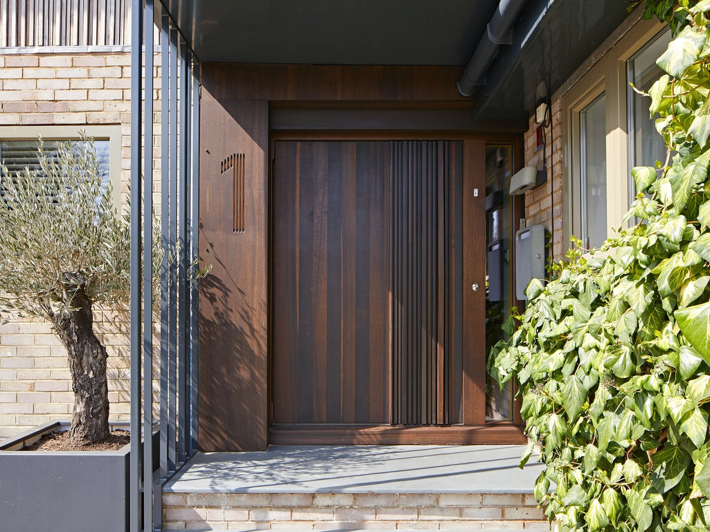 """Our exquisite """"Bari"""" design shown here in fumed oak & with canopy protection. This door has a pivot opening and measures 1500mm W x 2000mm H"""