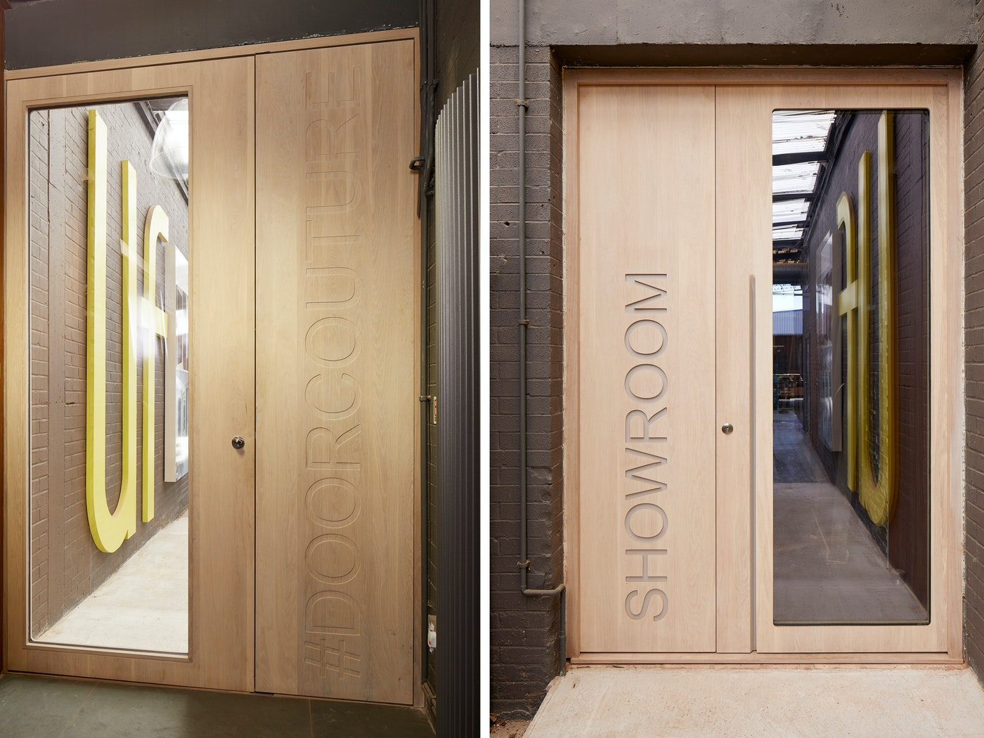 """The Urban Front showroom door is a bespoke version of the """"Ice"""" design (created in whitewashed oak with a corian inlay)"""