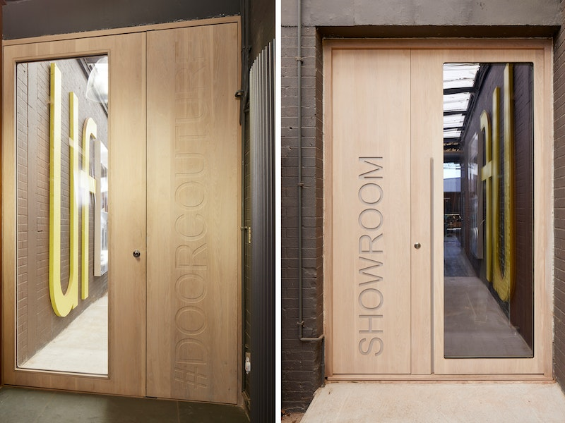 Urban Front showroom bespoke ice door in whitewashed oak with corian inlay
