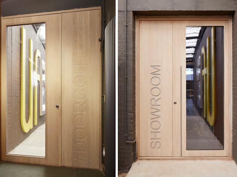 Urban Front showroom bespoke ice door in whitewashed oak with corian inlay