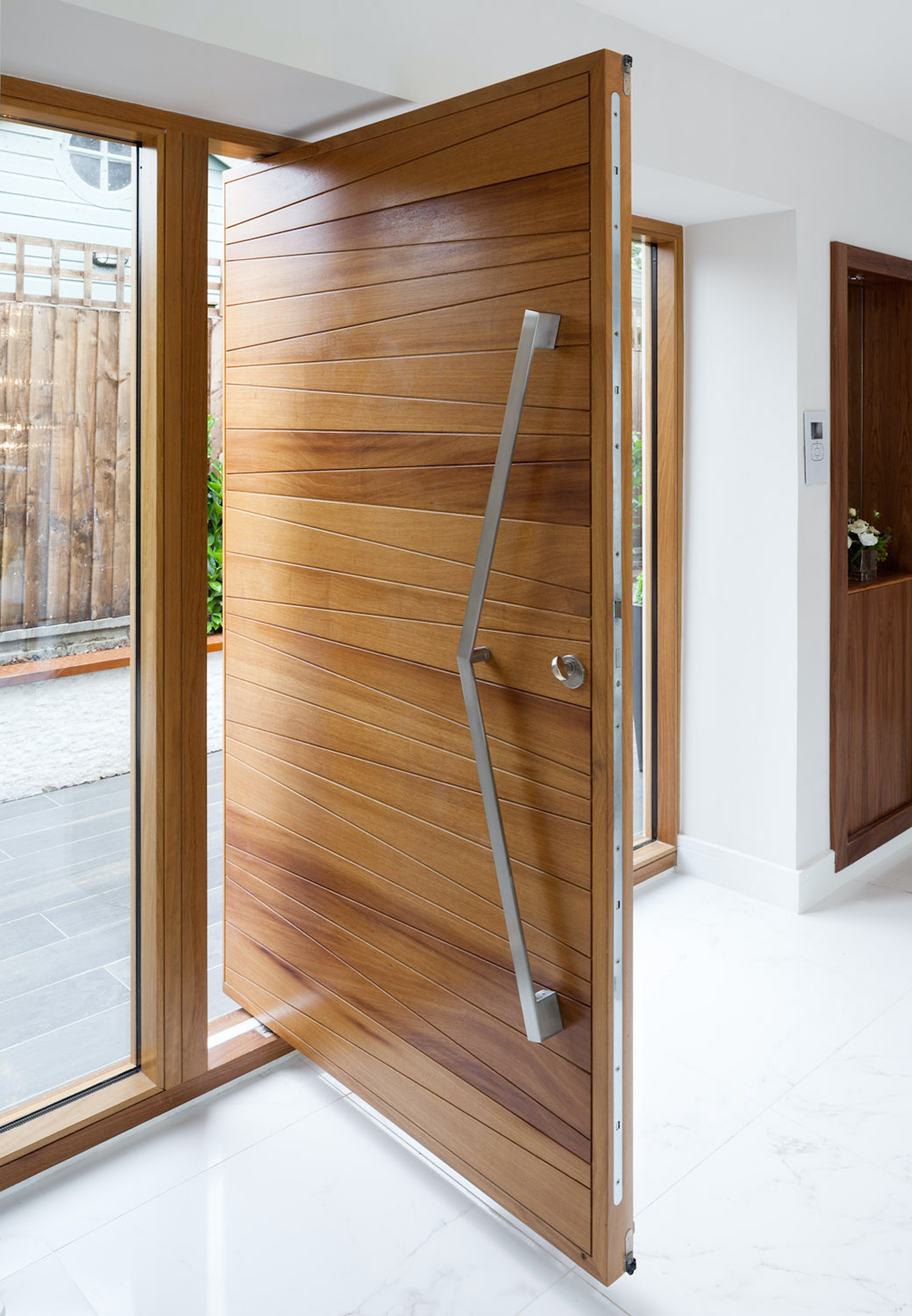 milano pivot in iroko with clear side lites and option 11 V handle