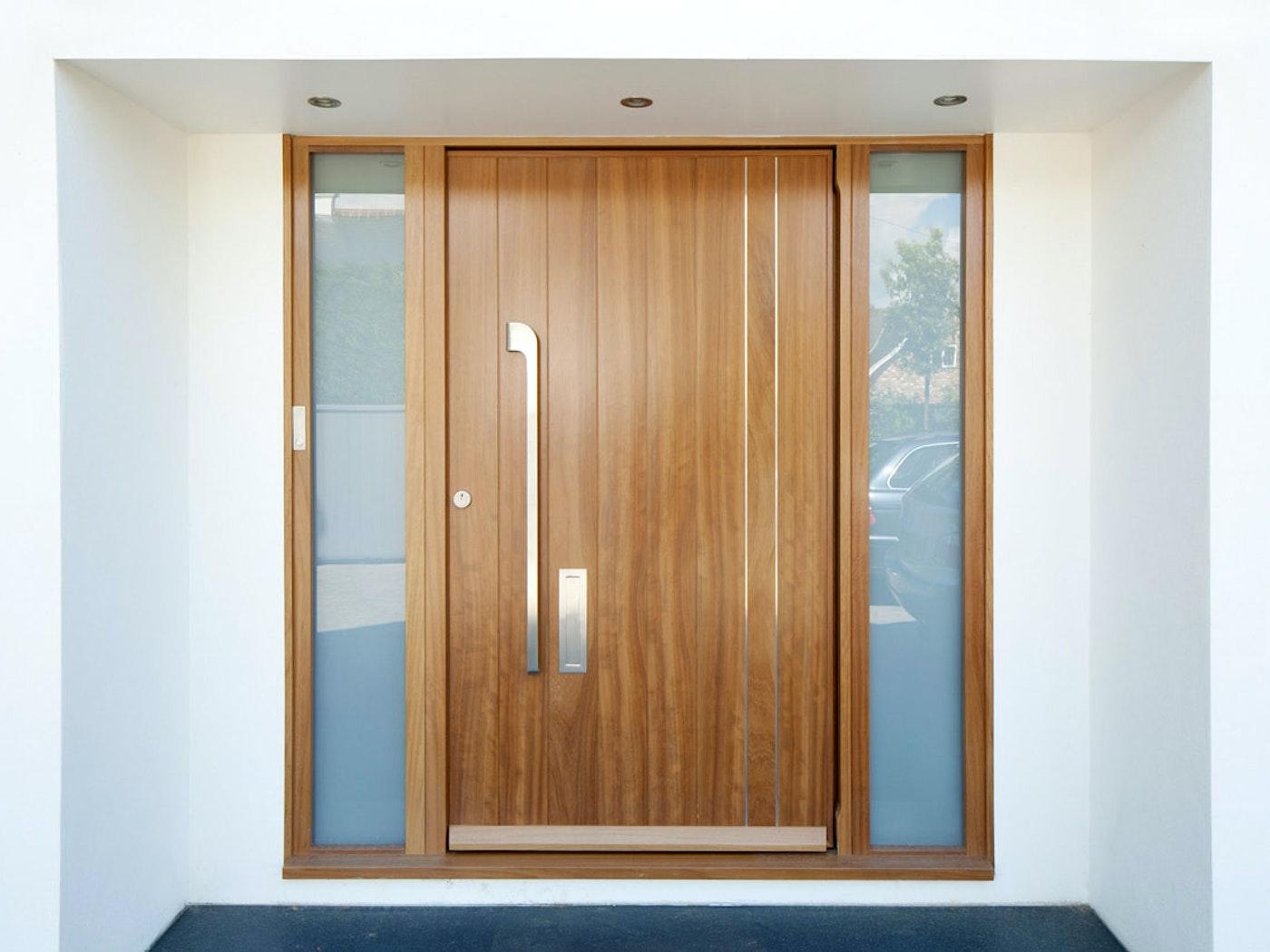 Iroko wood   Stainless steel detail   Porto v front door