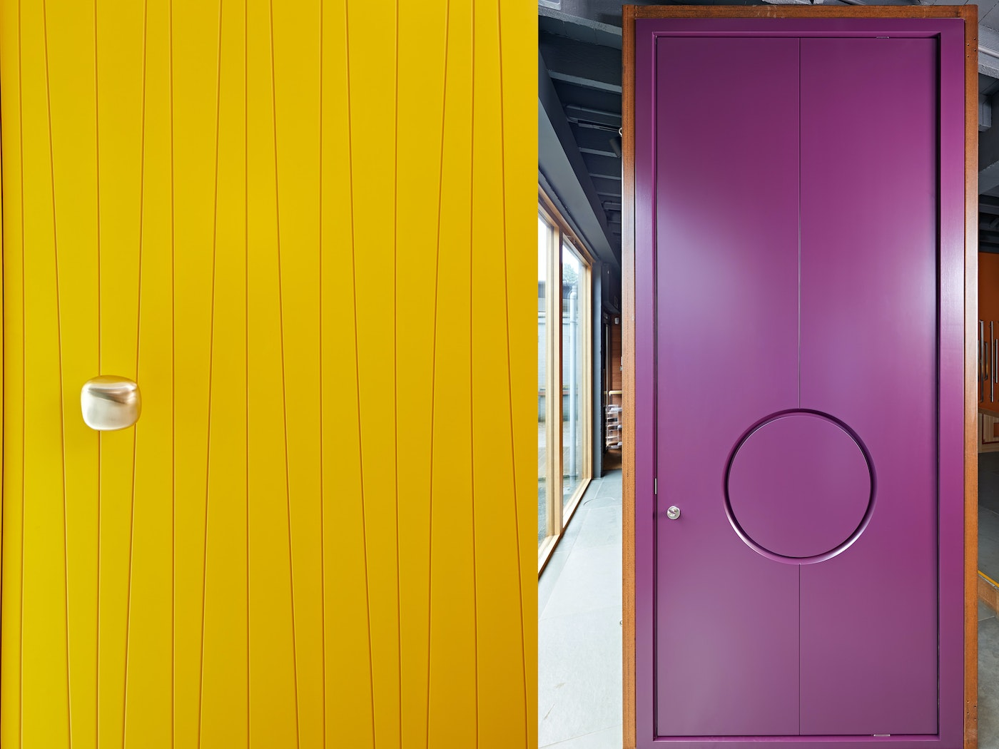 The reverse side of the barn door can be a completely different design