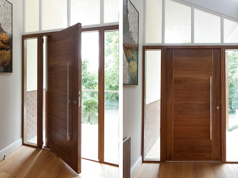 Oslo E80 Pivot front door in American Black Walnut with Option 11