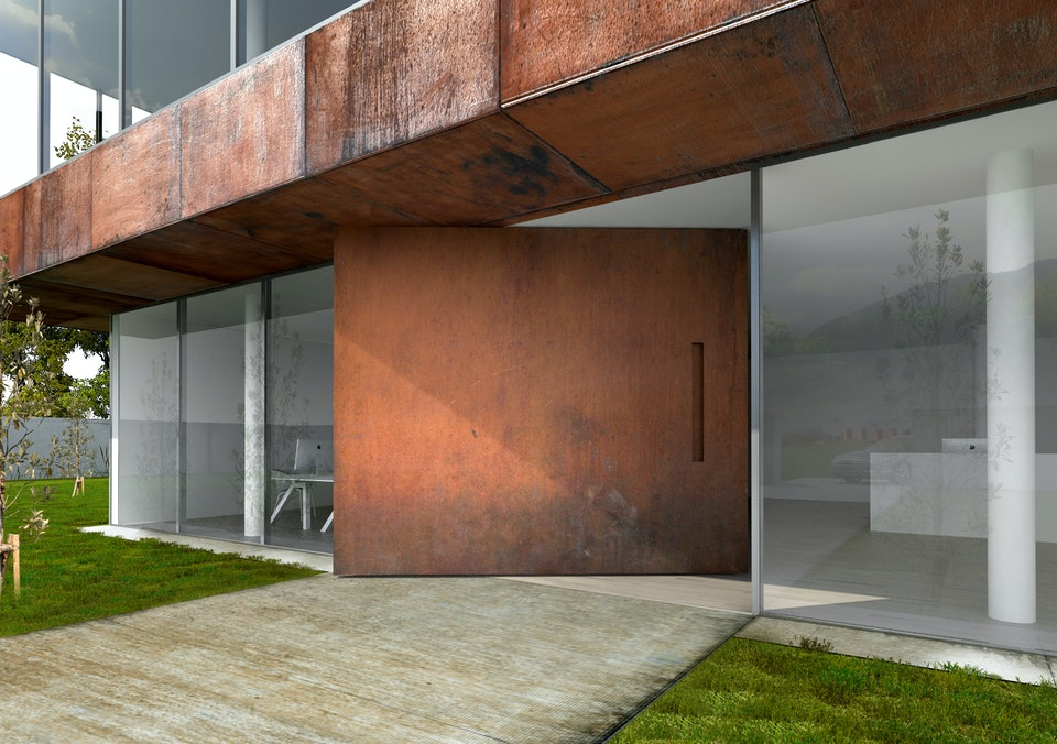 """""""Raw"""" extra wide front door in rust, with concealed handle"""