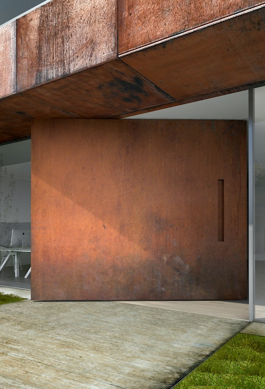 """Raw"" extra wide front door in rust, with concealed handle"