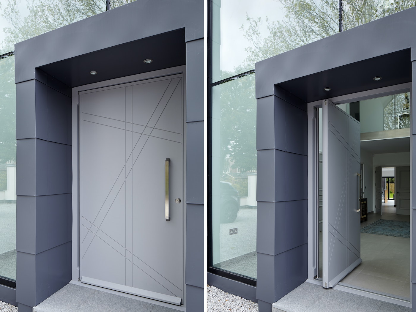 This light grey front door is nicely accented by darker framing & glass walling